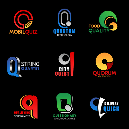 Letter Q icons and signs isolated. Mobil quiz and quantum technology, food quality and string quarter, city quest and quorum solutions. Qualifying tournament and questionary center, quick delivery vec