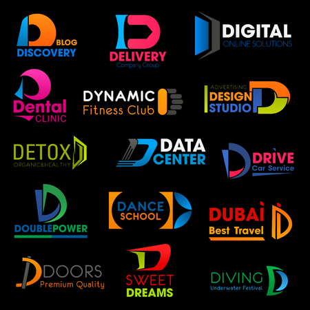 D letter business corporate identity icons composition. Vector D signs delivery logistics, digital online and design studio or cosmetic product brand and dance school or travel company Stock Illustratie