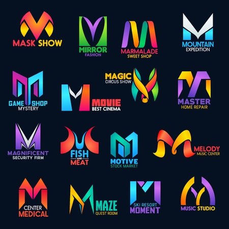 Corporate identity M vector icons of home repair service, movie cinema or circus show and security firm. Business tock market company, ski resort or fish and meat restaurant or medical center M signs