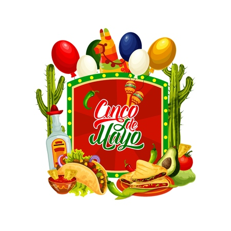 Cinco de Mayo holiday vector greeting card with Mexican fiesta party pinata, maracas and tequila. Cactus, chilli tacos and nachos with avocado, tomato sauce and balloons in colours of Mexico flag