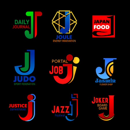 J icons of Japanese food restaurant, recruitment job portal or flowers shop. Vector J letter symbols of music, law justice and sport brand or energy innovation company corporate identity