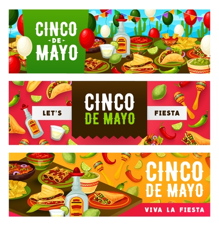 Mexican holiday Cinco de Mayo celebration food and drinks. Viva la fiesta of Cinco de Mayo, Mexico flag party balloons, tequila and lie with chili pepper, maracas, burrito and quesadilla