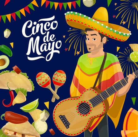 Cinco de Mayo fiesta mariachi with sombrero, guitar, maracas and food vector design of Mexican holiday. Chilli, tacos and nachos, avocado, lime and jalapeno pepper, festive fireworks and flags garland