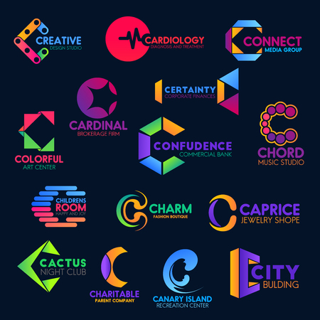 Letter C icons, business company corporate identity abstract geometric design. Vector C symbols, creative music studio, cardiology clinic or media group and brokerage firm, jewelry shop and night club