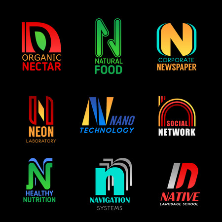 Letter N font icons of business company and corporate identity. Organic natural food, newspaper media or neon laboratory and nano technology industry or social network vector N symbols Иллюстрация