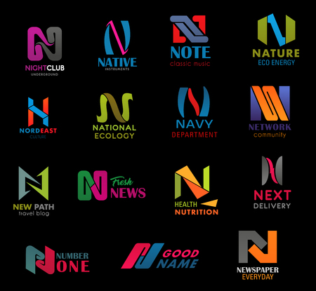 Letter N font modern icons design, business company or technology symbols. Vector N geometric shape of night club, music note or eco nature and navy department or next delivery