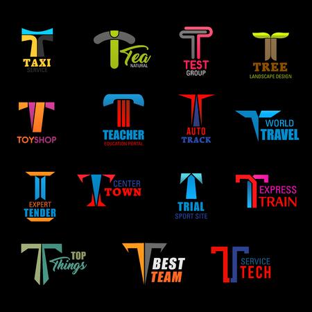 Icônes de la lettre T du service de taxi, de l'entreprise d'aménagement paysager et du portail de l'éducation. Signes vectoriels T de l'agence de voyages, du transport par train express, de l'équipe sportive de la technologie et du magasin de jouets