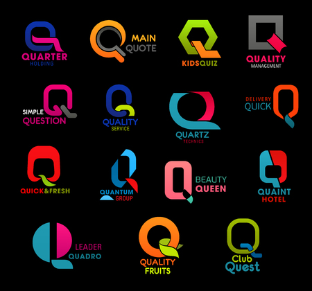 Q icons, brand and company corporate identity signs of food industry, service and technology. Vector letter S signs of quality service, delivery logistics and beauty salon studio or hotel and club