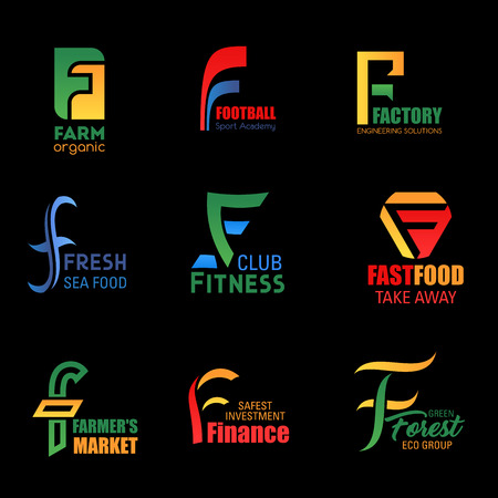 Letter F corporate identity icons of organic farm, football sport academy and engineering factory. Vector business company F symbols of fitness club, fast food restaurant and finance investment