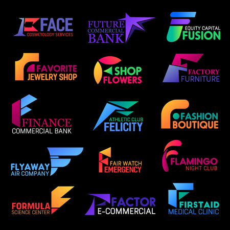 Corporate identity F letter icons of cosmetology and skincare salon, commercial bank and athletic sport or gym club. Vector F medical clinic, science center and flowers shop or fashion boutique Иллюстрация