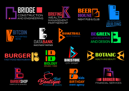B letter icons, corporate business and brand identity abstract symbols. Vector B signs of construction and engineering industry, wealth management partnership or night club and reals estate agency