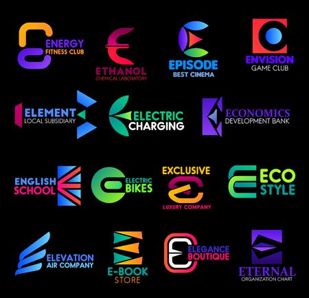 Letra E, iconos corporativos y letreros de empresas comerciales. Iconos vectoriales E de Energy Fitness and Sport Club, laboratorio químico y cine o club de juegos, escuela de inglés y aplicación de tienda de libros electrónicos