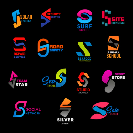 S icons, corporate identity and business company or brand design symbols. Vector letter S security and repair service, surf school or web site design agency, school sign and architect studio