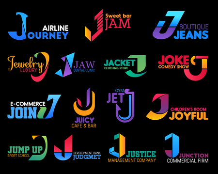 Corporate identity J icons, and business company or brand name letter symbols. Jeans boutique, gym sport club or commercial firm and development bank, dental clinic and jewelry shop vector J signs Illustration