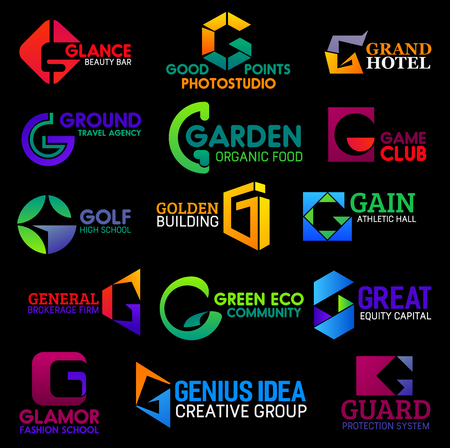 Corporate identity G icons, hotel, food or sport symbols. Vector letter G creative design group, travel agency or eco community project and guard protection system technology or gym fitness club