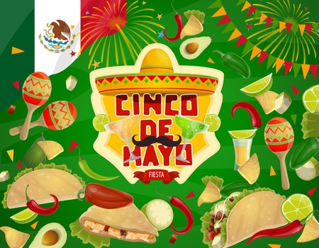 Cinco de Mayo fiesta party food and drink vector invitation of Mexican holiday. Sombrero, maracas and moustaches, tequila, margarita and avocado, chilli tacos, nachos and lime, Mexico flag, fireworks Illustration