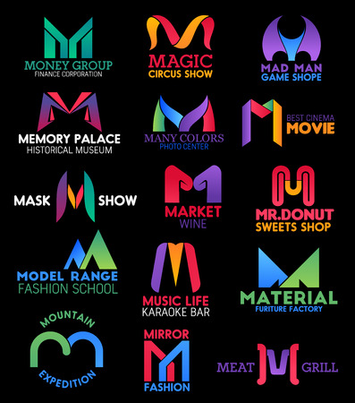 Corporate identity letter M icons, finance corporation, fashion school and karaoke bar signs. Vector M of photo center, donut sweets shop, meat grill cafe or restaurant and travel expedition club