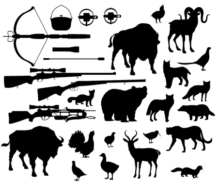 Animals and birds silhouettes, hunting sport equipment icons. Crossbow and gun or rifle, lighter and cauldron with trap. Vector bear and buffalo, goat and antelope, lynx and cheetah, fox and wolf