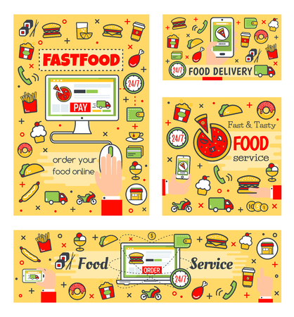 Fast food online order, delivery and payment. Buy meals through computer or laptop vector takeaway food services. Burger and french fries, cupcake and sushi, chicken and taco line art icons, 24h Illustration