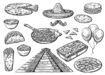 Cinco de Mayo holiday food and symbols isolated sketches. Vector Mexican pyramid, sombrero hat and moustaches, inflatable balloons. Burritos and enchilada, jalapeno and guacamole, nacho and churro