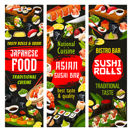 Sushi and roll bar, Japanese cuisine. Vector sashimi and maki, shrimp or salmon nigiri and temaki with futomaki, wasabi sauce and ginger. Teapot and soy sauce, chopsticks and tray Illustration