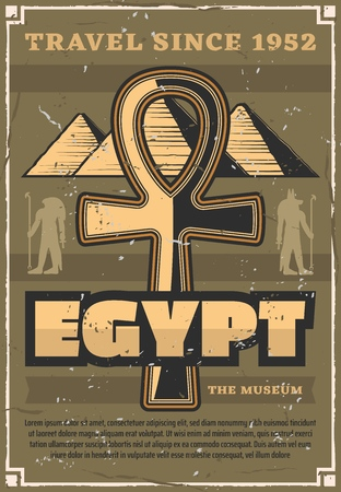 Travel to Egypt, Great pyramids and coptic cross. Vector ancient Gods silhouettes, Ra and Anubis, historical museum of antique relics. Landmarks and culture, country exploration and world discovery