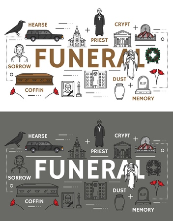 Burial ceremony or interment, funeral service signs icons. Vector outline earse and priest, crypt and grave, memory gravestone, dust and coffin. Crow and photo with candle, flowers and angel statue