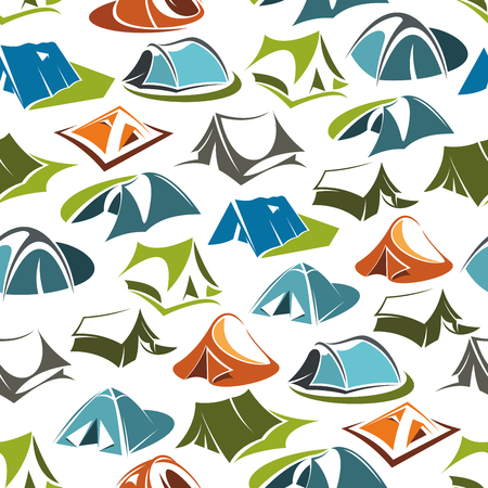 Camping tents seamless pattern, portable dwelling of textile, hiking equipment. Vector active pastime outdoor in mountains or forest, recreation and sport on nature item. Leisure activity and trip Çizim