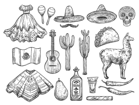 Mexican traditional symbols isolated sketches. Vector national dress huipil and sombrero hat, tequila and cactus, pancho and guitar. Calavera skull and burrito, llama and flag, avocado, Cinco de Mayo