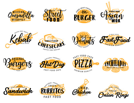 Fast food icons with lettering or signs. Vector hot dog and quesadilla, donut and burger, pizza and enchiladas, sandwich and cheesecake, chicken and onion rings. Kebab and Asian wok, takeaway meal