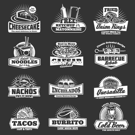 Fast food restaurant icons with snacks. Cheesecake dessert and ketchup or mayonnaise sauces, onion rings and Asian noodles. Vector Caesar salad and barbecue, nachos and enchiladas, tacos and beer