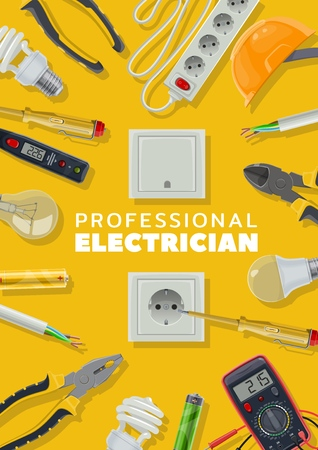 Electrical tools, electricity repair service, electrician. Vector light bulbs and pliers, socket and headgear, cable and screwdriver. Voltmeter and battery, tester and switch, house wiring fixing