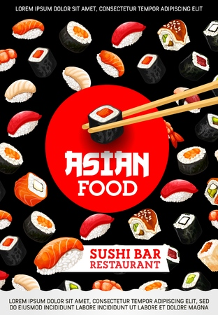 Japanese cuisine bar restaurant, sushi and rolls with chopsticks. Vector seafood, rice in seaweed and raw fish. Salmon and tuna, perch and prawn, eel and avocado with tofu cheese, Asian food cafe