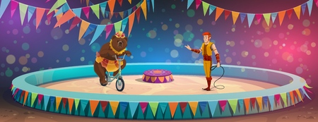 Circus show, animal handler with whip, bear on bicycle. Vector chapiteau arena, forest predator in costume on bike, man showing trick with wild mammal in skirt. Stage performance, family entertainment