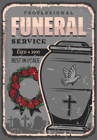 Burial urn, dust and cremation, funeral service, interment ceremony. Vector rose wreath and black stripe, cemetery and gravestones. Container with dove and cross religious symbols, parting or farewell