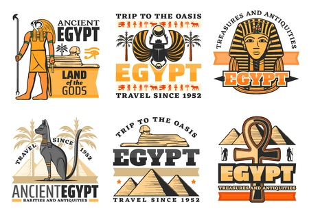 Egypt travel icons, Egyptian gods and landmarks. Vector Great pyramids and Sphinx, Ra and Pharaoh king, cat and coptic cross. Scarab and palm trees, luxor treasures, ancient civilization, isolated 일러스트