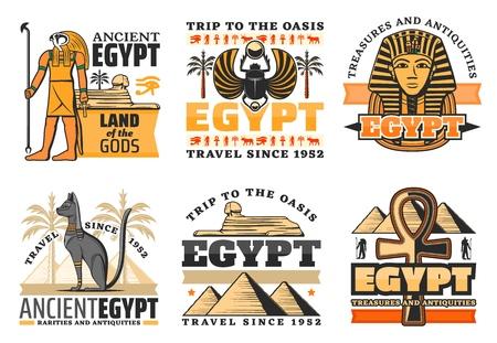 Iconos de viajes de Egipto, dioses egipcios y monumentos. Vector Grandes pirámides y Esfinge, Ra y faraón rey, gato y cruz copta. Escarabajo y palmeras, tesoros de luxor, civilización antigua, aislado