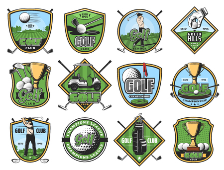 Golfing club sport icons, golf game, golfer, sporting items. Sticks and ball, gold trophy and hole, cart and play course or field, glove and tee. Vector golfing court, sportsmen and equipment isolated Иллюстрация