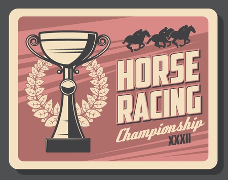 Horse racing sport championship retro card. Vector horserace tournament at racecourse, trophy cup and laurel wreath. Jockeys on horseback running track, noble mustang, trained animals, win prize