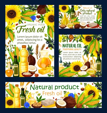 Oil of natural products, cooking ingredient. Olive and hemp, sunflower and peanut, healthy food, corn and coconut, wheat and walnut, rapeseed. Bottles and jug, butter and margarine on plate vector Illustration