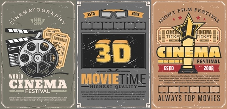 Movie theater or retro cinema, 3D seance and motion picture festival. Film reel and tickets with clapperboard. Vector TV set screen and glasses, gold award with star, entertainment event, movie time Ilustração