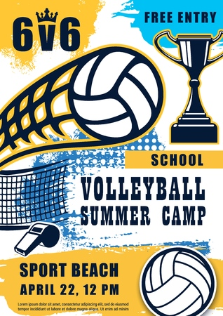 Volleyball sport game poster, ball and whistle with trophy cup. Vector summer beach tournament in school or camp with prize. Sporting items and net, openair match, championship or competition