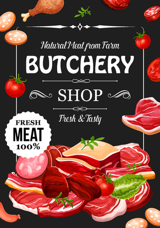 Meat products and sausages with seasonings, butchery shop. Vector beef raw filet and steak, pork bacon and tenderloin or chop, mutton and beefsteak, chicken drumstick. Parsley and tomato, lettuce leaf Ilustração
