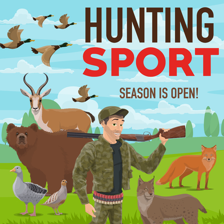 Hunter with gun or rifle, hunting sport poster. Huntsman in ammunition and prey, hunt season. Bear and antelope, goose and grouse with ducks flock, fox and lynx, forest animals and birds vector Illustration