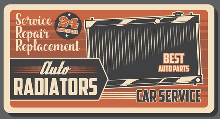 Auto radiators and engine cooling, car parts. Vector repair service and diagnostics, spare part, automobile repairing garage station. Details replacement, vehicle fixing and transport maintenance Archivio Fotografico - 124610190