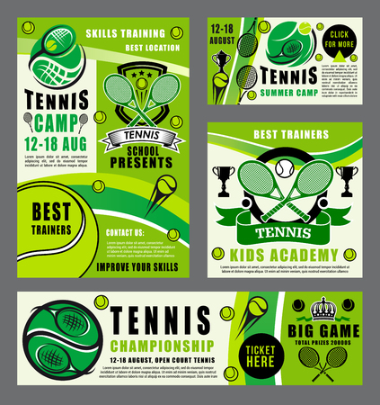 Tennis school tournament, ball and racket icons. Sport items and trophy cup, win prize in championship or contest. Vector summer camp game, competition or childish match, sporting league equipment