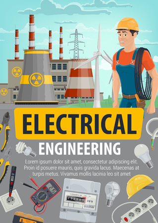 Electrician or engineer and energetics industry. Vector electrical engineering and equipment tools, nuclear power plant or factory. Pliers and light bulbs, cable and voltmeter, socket and helmet Vector Illustration