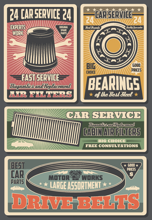 Auto spare parts at car repair service, garage station. Air filter and drive belts, bearings and motor works. Vector mechanic works tools, wrench and gear replacement, vehicle fixing and spare parts
