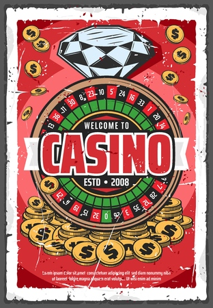 Gambling on roulette wheel, online retro casino. Diamond or brilliant and gold coins, fortune and win. Vector money stakes and risk in game of luck, precious gemstone and blackjack, fortune wheel