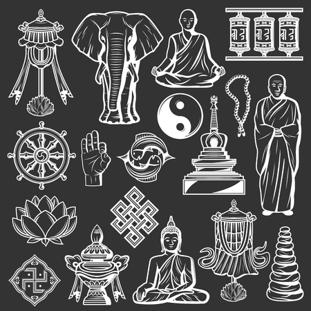Buddhism religious symbols, spirituality icons. Vector Buddha and lotus, monk and meditation pose, ok sign. Pebble pile and spinning drums, mortar and yin yang, mandala and zen